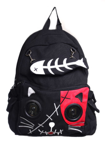 Black Gothic Emo Red Cat Kitty Speaker Rucksack Backpack By Banned Apparel