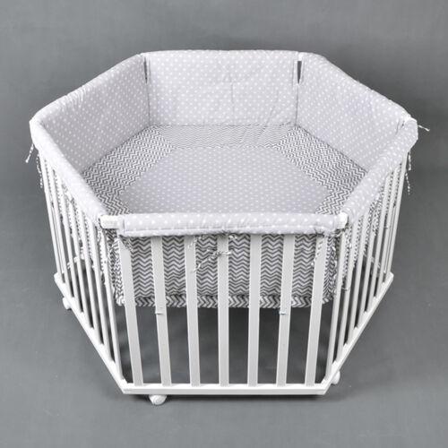 Laufgitter Laufstall 6-eckig Baby Krabbelgitter inkl Stoffeinlage WEISS