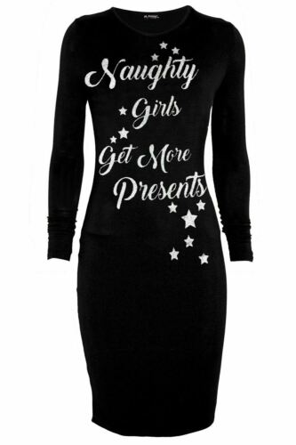 Women Christmas Long Sleeve Naughty Girls Get More Presents Ladies Bodycon Dress
