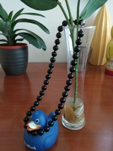 "Beautiful 10mm south brazilian black onyx gemstone necklace 18.5/""-UK seller BT"