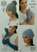 KNITTING PATTERN Ladies Hats and Gloves DK King Cole 4369
