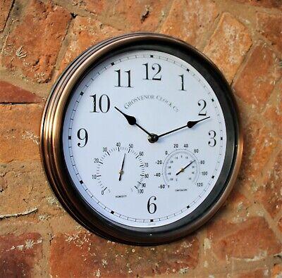 Garden Wall Station Horloge intérieur//extérieur en cuivre cadre en métal température humidité