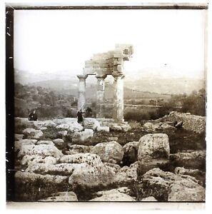 Italia Agrigento Archeologia Greco c1910 Foto Placca Da Lente Vintage n1