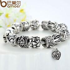 Women Tibetan Silver European Hearts Black Charms Bracelet  With Beads Christmas