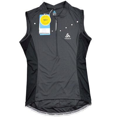 Odlo Donna Gilet Maglia Ruota Bicicletta Giacca Bike Jersey Vest Shirt Grigio/nero-