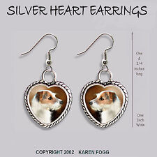 Jack Russell Terrier Dog Wire Fawn - Heart Earrings Ornate Tibetan Silver
