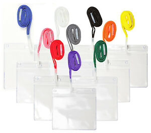 5 x Plastic ID Badge Card Holder Pocket Wallet & Neck Lanyard PICK A COLOUR lot