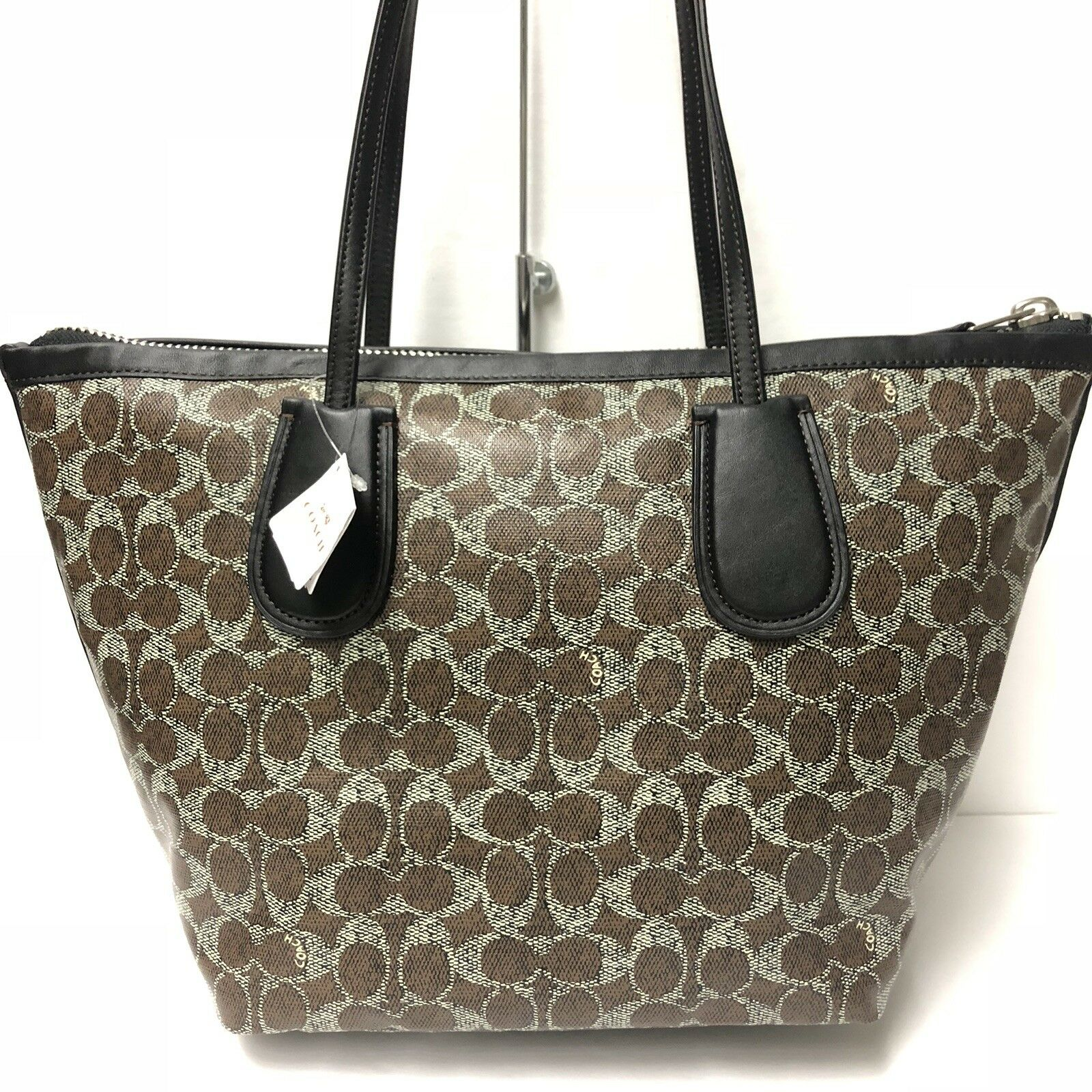 33127bae2f48 Coach Coated Linen Signature Taxi Zip Top Tote 33504 (Brown Black ...