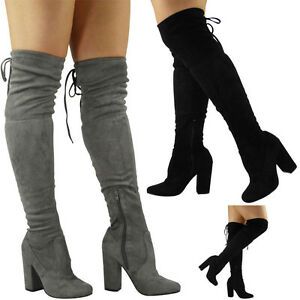 3c9890246488 Womens Ladies Over The Knee Thigh High Boots Lace Up Block Heel ...