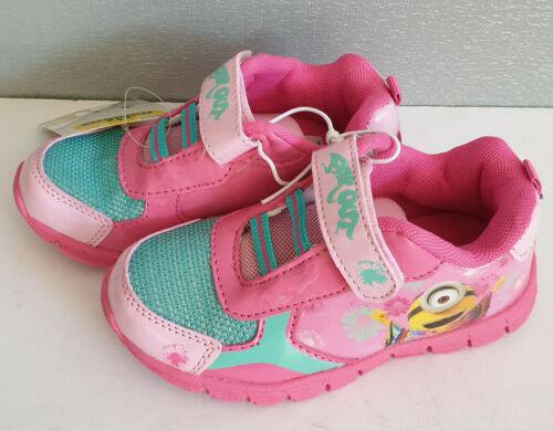 BNWT Little Girls Sz 11 Minions Pink Aqua Hook And Loop Athletic Jogger Shoes