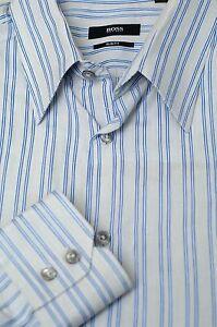 Hugo-Boss-Men-039-s-Light-Gray-amp-Blue-Stripe-Luxury-Cotton-Casual-Shirt-XL-XLarge