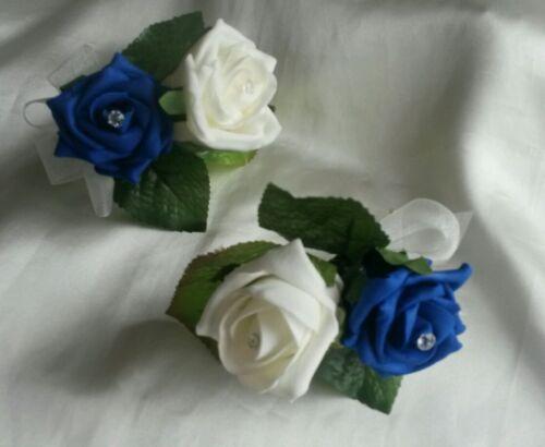 10 x Ivory /& Royal Blue Rose Flower Wedding Buttonholes NEW Handmade