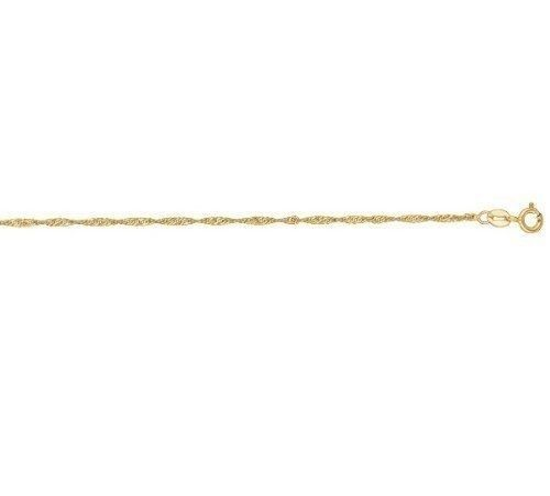 14k Solid Yellow Gold Singapore Rope Chain Necklace 1.1mm 18""