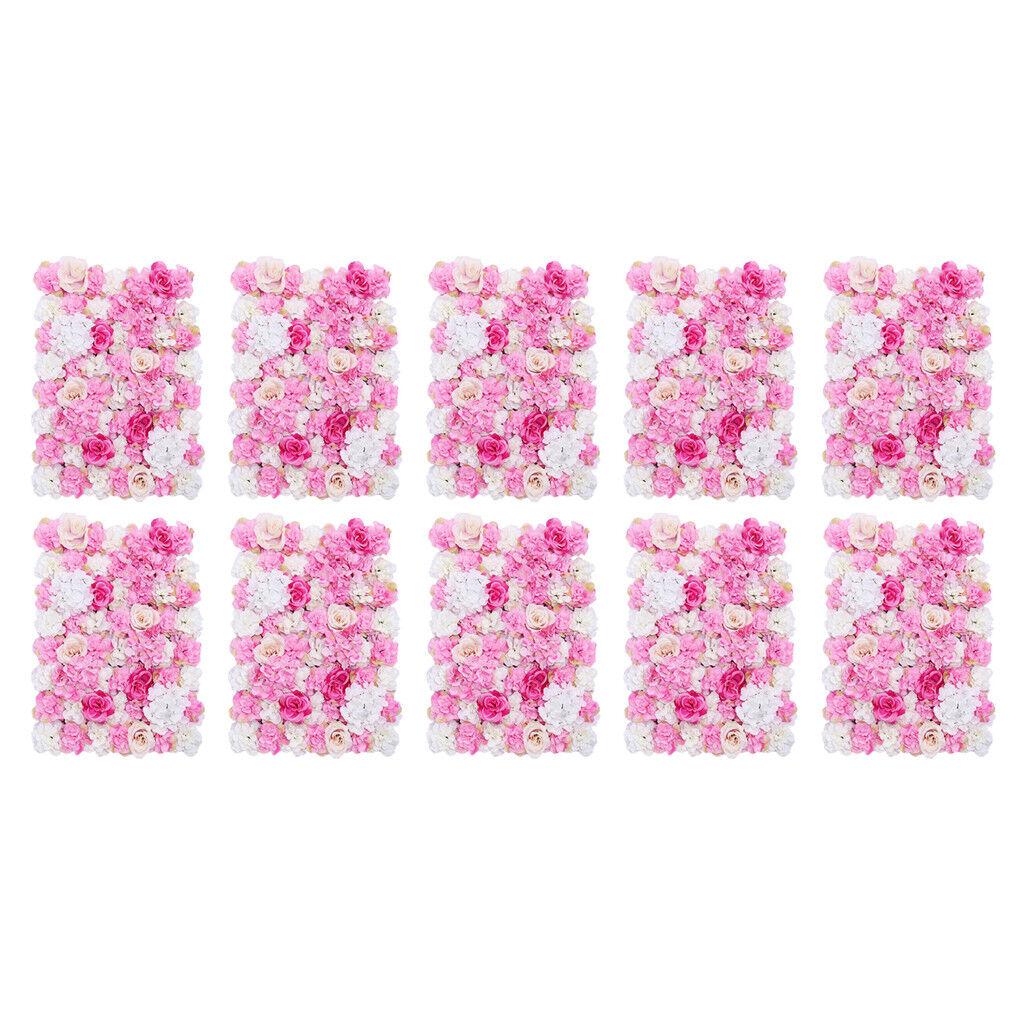 10pcs Simulation Soie Fleur panneaux muraux Mariage Décor Rose chaud 40 x 60 cm