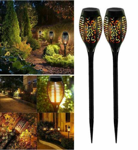 Solarleuchte Beleuchtung 12LED Garten Solar Licht Lampe Fackel Leuchte Flamme #