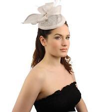 Elegant Derby Feather Jewel Headband Fascinator Cocktail Mini Church Hat White
