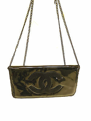 Chanel Beaute Purse WOC Black Silver Hardware Chain Authentic CC Handbag Clutch