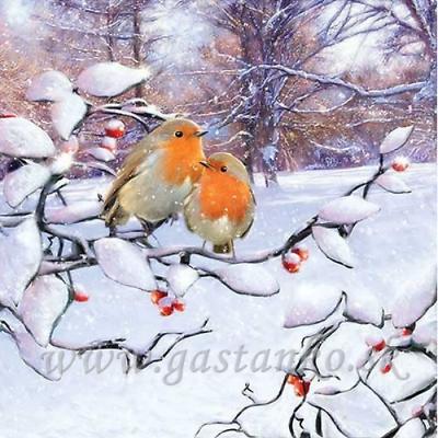 4 Solo Papel Decoupage Servilletas Robins invierno Robin en rama Nieve aves 936