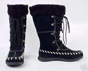 Victoria-Secret-Lace-up-suede-boots-black-sz-6