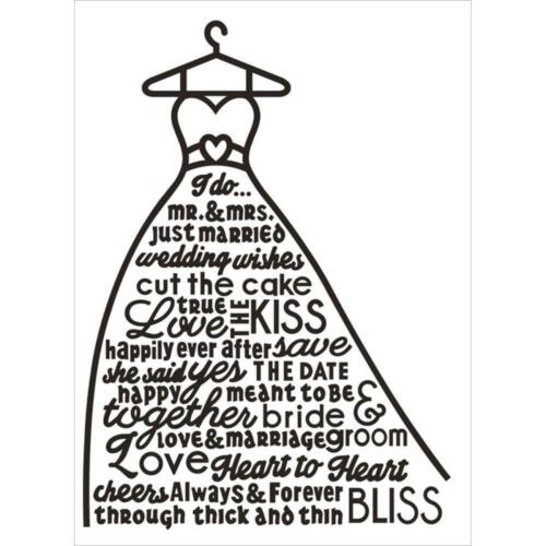 Darice Embossing Folder ~ WEDDING DRESS GOWN ~ Bride 1219-230   A2  4.25 X 5.75