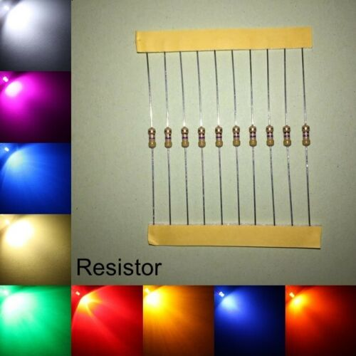 3mm Flattop Water Clear LED Bulb All Colours Light Emitting Diode Resistor