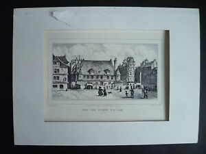"""Gravur """" The Old Town Halle """" Mason Thénot, Lith. De Mlle Formentin Paris"""