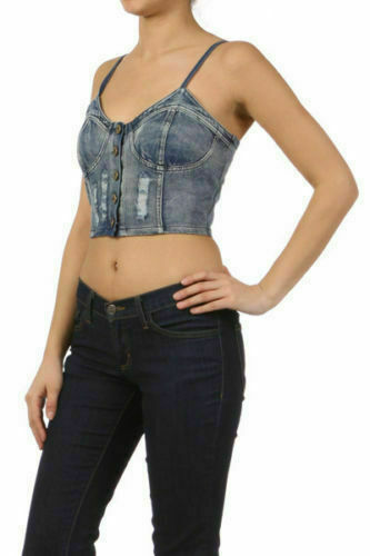 Top Crop Denim S M L Button Distressed Faded Blue Smocked Back Casual Stretch