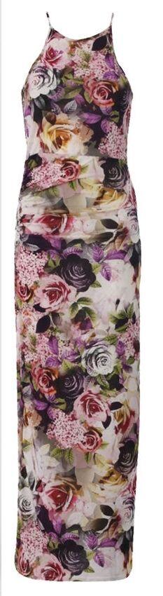 Floral Maxi Race Flower Long Party Summer Cruise Beach Tall Dress XS 6 S 8 NEW