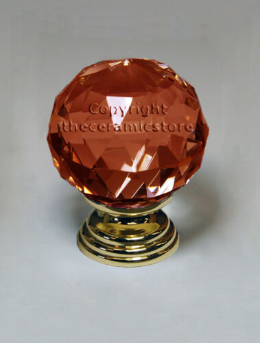 GOLD Pull Crystal Glass Door Knobs Cabinet Cupboard Furniture Kitchen Handle