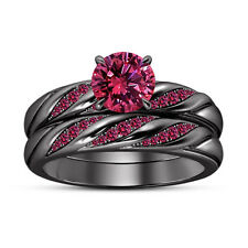 14k Black Gold Finish Women's Pink Sapphire Wedding Bands Bridal Ring Set 6