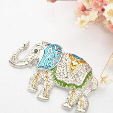 Fashion Elephant Animal Crystal Rhinestone Brooches Pin for Women/Men-Silver