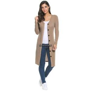19ab9e98 Women's V-Neck Long Sleeve Button Down Long Ribbed Knit Cardigan ...