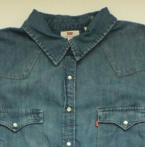 Levi-039-s-Denim-Shirt-Damen-Regular-Fit-Snaps-1x-mittelblau-Strauss-LSHT-607