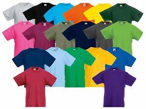Fruit-of-the-Loom-Enfants-039-S-T-Shirt-Plain-Top-Enfants-Garcons-Filles-Ecole-Toutes-Tailles