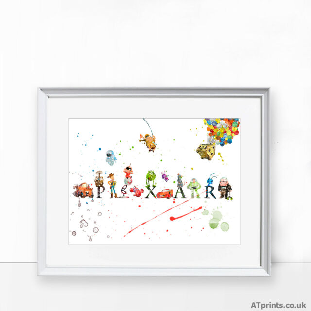 Pixar Disney Print Poster Watercolour Framed Canvas Wall Art Toy Story Up