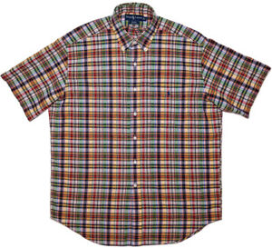 POLO-RALPH-LAUREN-Short-Sleeve-Button-Shirt-Red-Blue-Yellow-Green-Plaid-Large-L