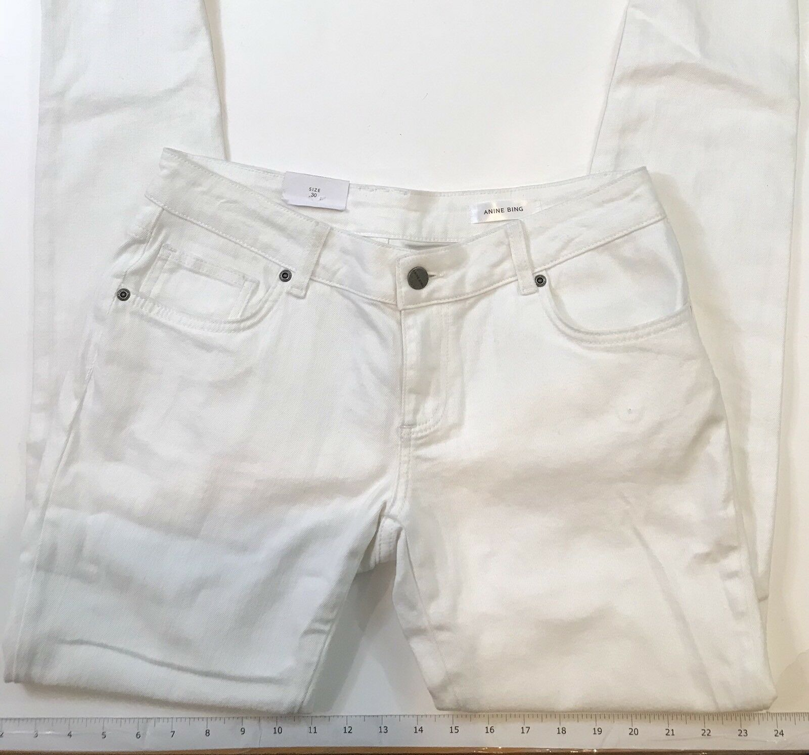 Brand New  Anine Bing  Destroyed Skinny Jean White Size 30