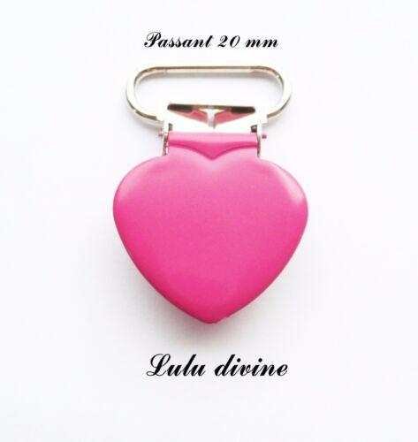 Pince coeur passant de 20 mm : Fuchsia Clip coeur Attache tétine doudou