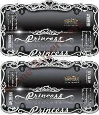 Chrome/Black Metal Princess Crown License Plate Frame Car auto Truck Tag Holder