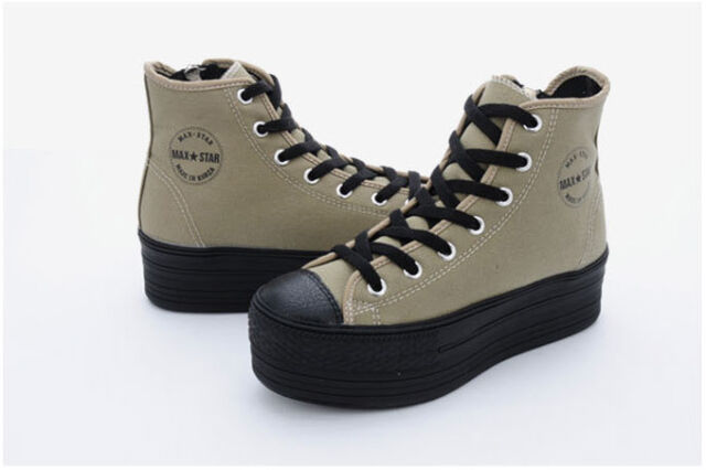 New Womens High-Top Canvas Light Black Platform Sneakers Trainers Shoes Fashion