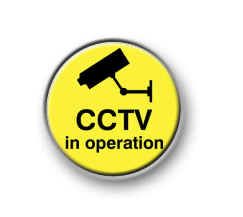 """CCTV IN OPERATION funny 25mm pin button camera TV novelty 1"""" badge"""