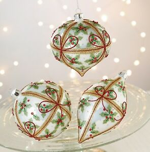 image is loading raz christmas ornaments holly bow 4 034 white