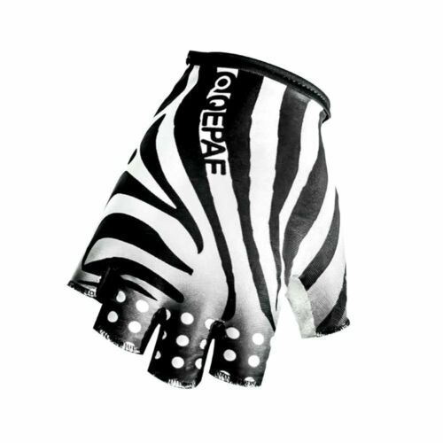 QEPAE Outdoor Half Finger Zebra Anti-Slip Gel Cycling Driving Hiking Gloves
