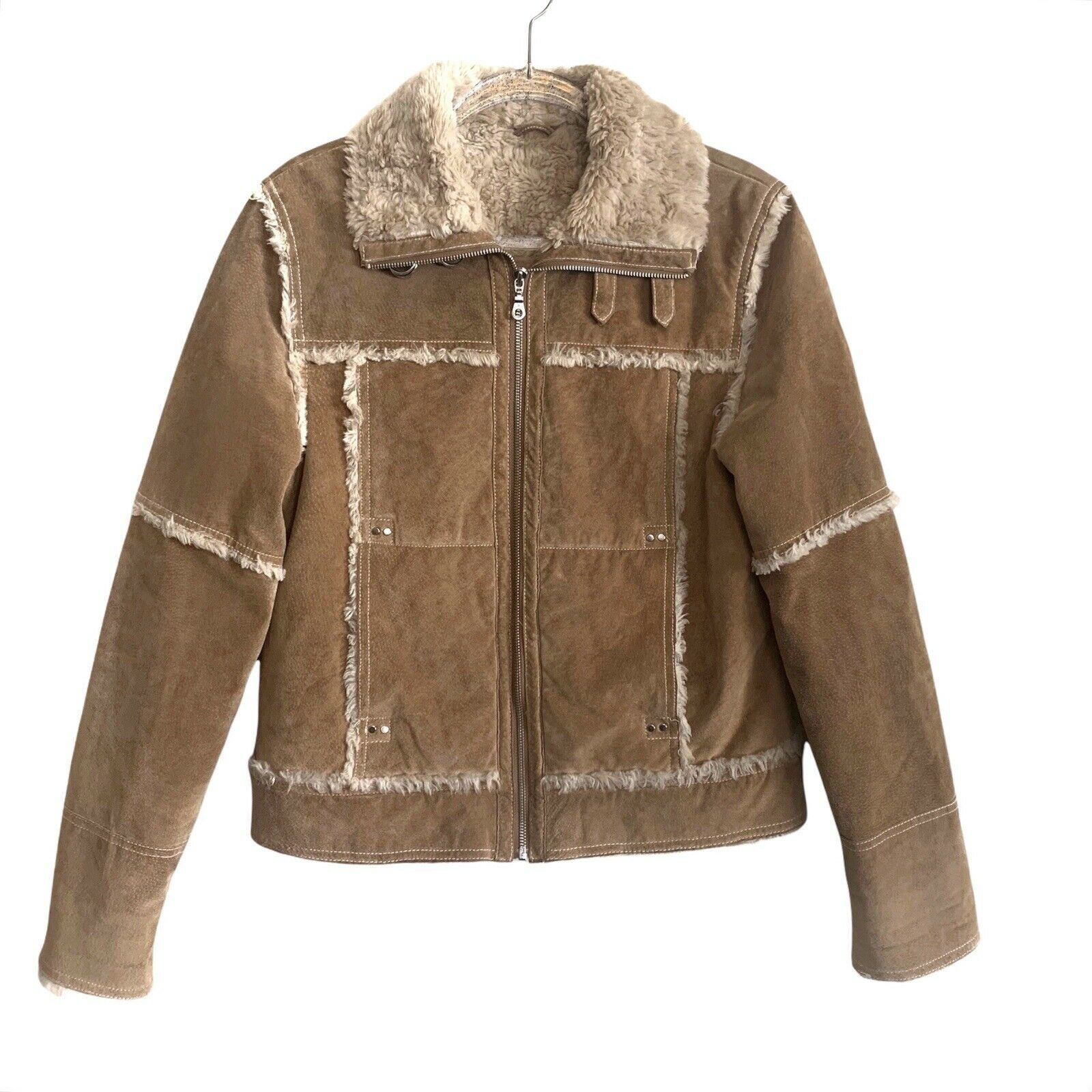 Wilsons Leather Medium Leather Brown Boho Biker Shearling Full Zipper Jacket