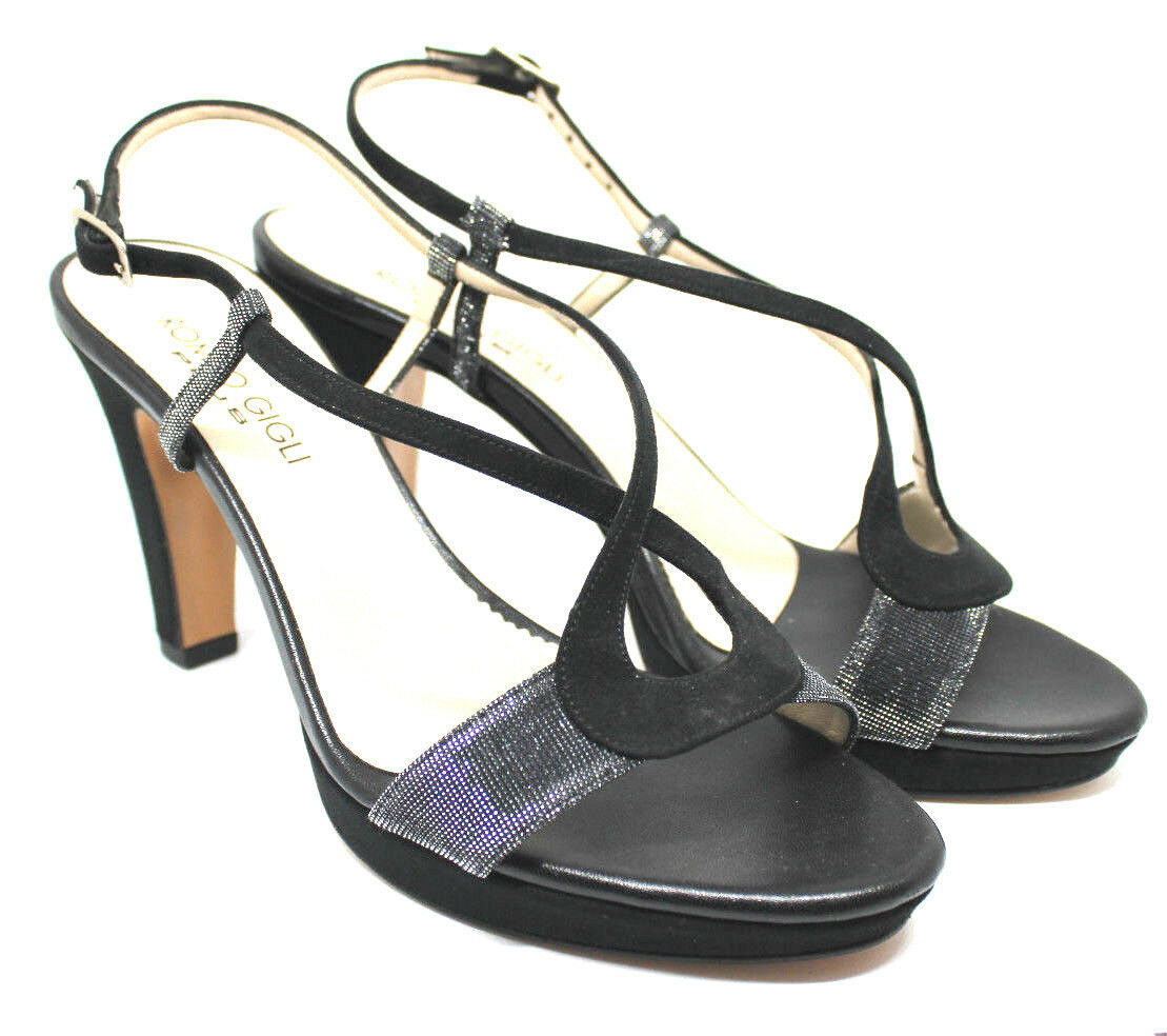 Scarpe cerimonia medio donna NERO sandali tacco medio cerimonia cuoio made in Italy shoes laethe 11e04d