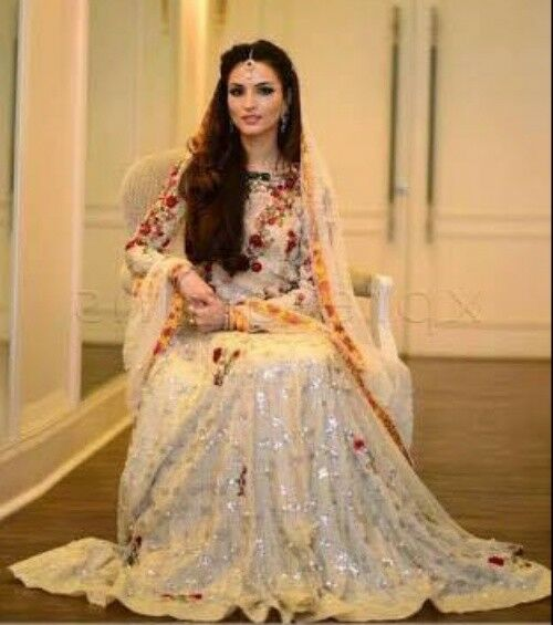 Robe de Mariée/Mariage Indian Heavy Lehenga/Lengha/ghagra Choli Anarkali Maxi Crème Rouge