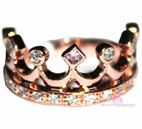 Bfa® Sterling Silver Royalty Princess Cz Pink Rosegold Plated Crown Of Life Ring