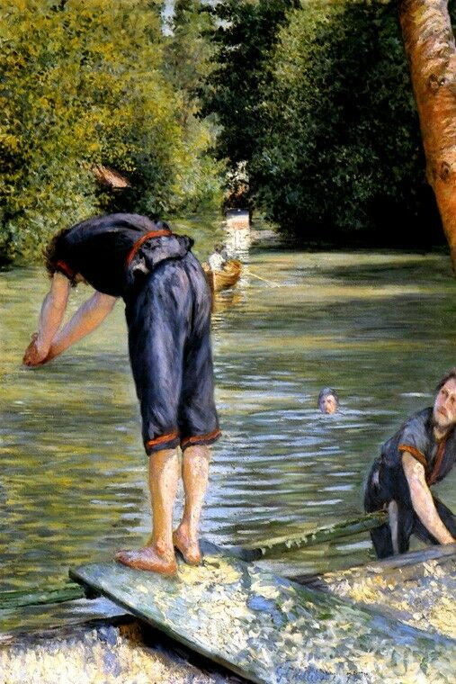 BATHERS MEN DIVE IN SWIMMING RIVER FRENCH 1878 PAINTING BY CAILLEBOTTE REPRO