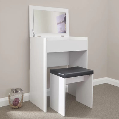 Small Dressing Table Bedroom Storage Unit Mirror Stool Set