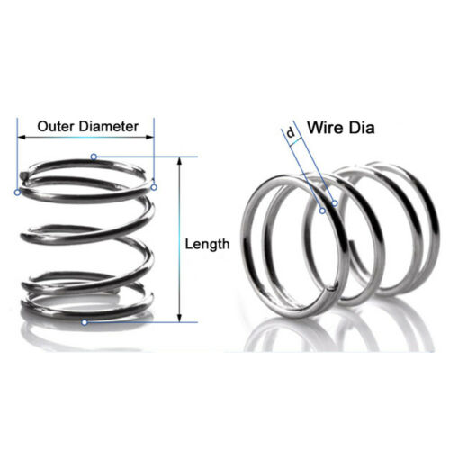 10 x Spring Steel Compression Pressure Spring Wire Dia 2.5mm Powerful OD 12-36mm